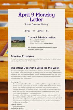 April 9 Monday Letter