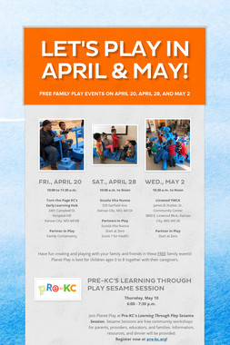 Let's Play in April & May!