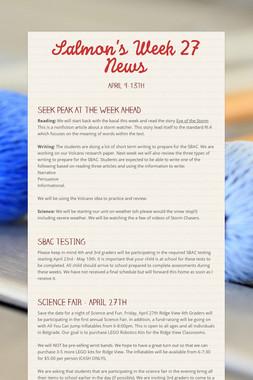 Salmon's Week 27 News