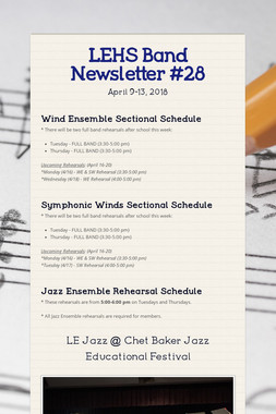 LEHS Band Newsletter #28