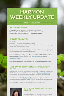 Harmon Weekly Update