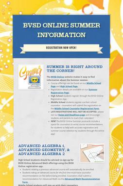 BVSD Online Summer Information