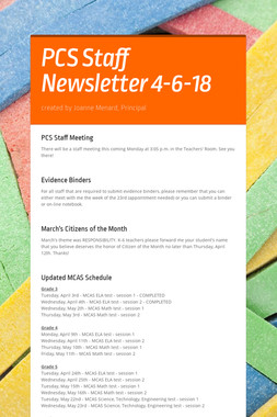 PCS Staff Newsletter 4-6-18