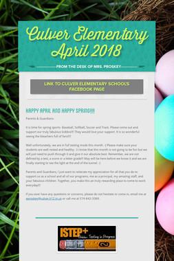Culver Elementary     April 2018