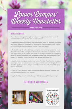 Lower Campus' Weekly Newsletter