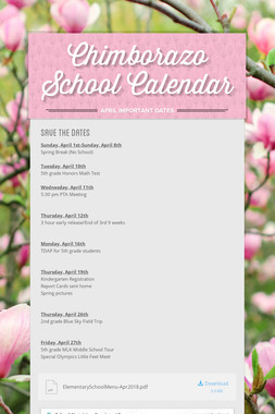 Chimborazo School Calendar