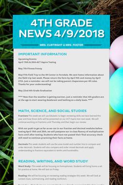 4th Grade News 4/9/2018