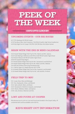 PEEK OF THE WEEK