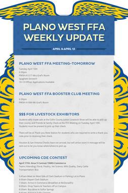 Plano West FFA Weekly Update