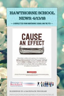 Hawthorne School News: 4/13/18