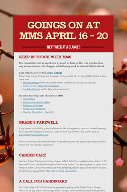 Goings On at MMS April 16 - 20