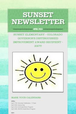 Sunset Newsletter