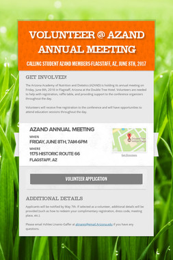 Volunteer @ AZAND Annual Meeting