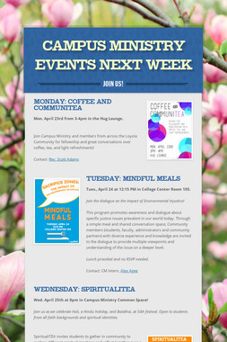 Campus Ministry Events Next Week