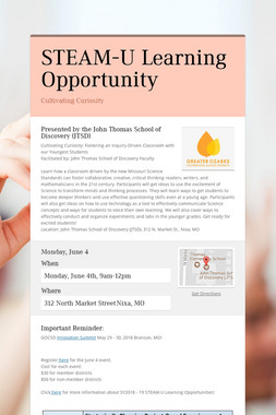 STEAM-U Learning Opportunity