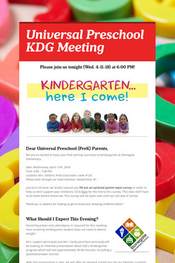 Universal Preschool KDG Meeting