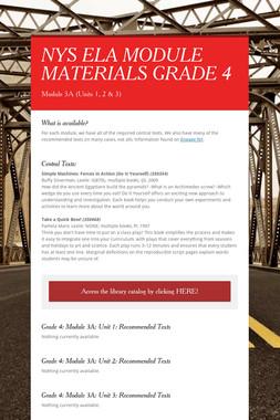 NYS ELA MODULE MATERIALS GRADE 4