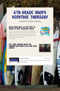 6th Grade Shops Bookfair Thursday