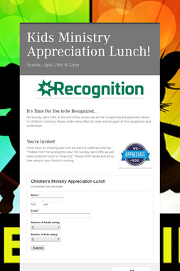 Kids Ministry Appreciation Lunch!