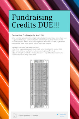Fundraising Credits DUE!!!
