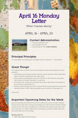 April 16 Monday Letter