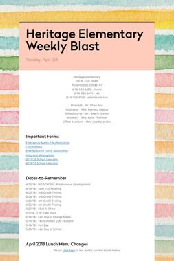 Heritage Elementary Weekly Blast