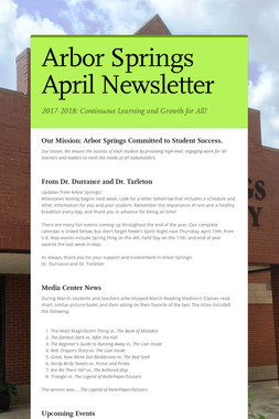 Arbor Springs April Newsletter