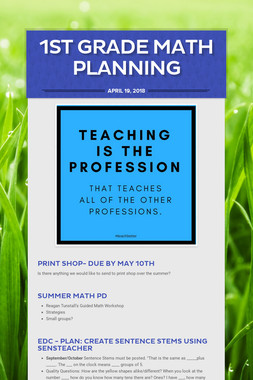 1st Grade  Math Planning