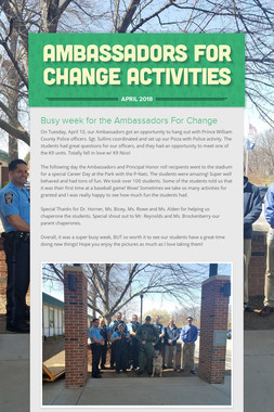 Ambassadors for Change Activities