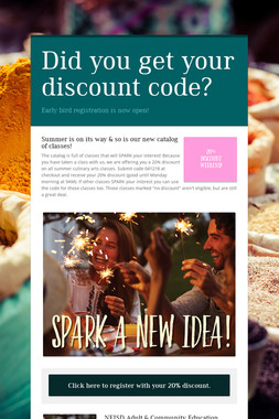 Did you get your discount code?