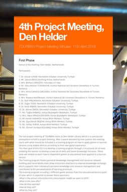 4th Project Meeting, Den Helder