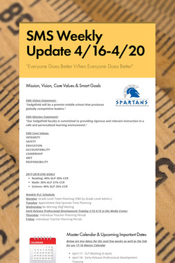 SMS Weekly Update 4/16-4/20
