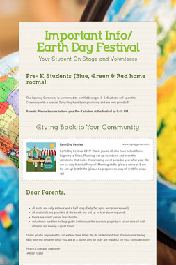 Important Info/ Earth Day Festival