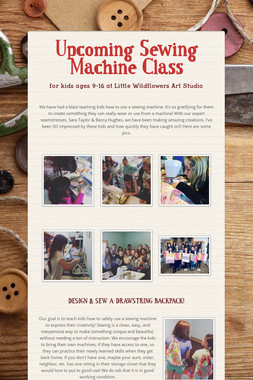 Upcoming Sewing Machine Class