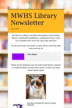 MWHS Library Newsletter