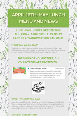 April 16th: May Lunch Menu and News