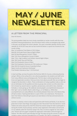 May / June Newsletter