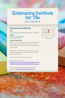 Extensions Institute for TAs