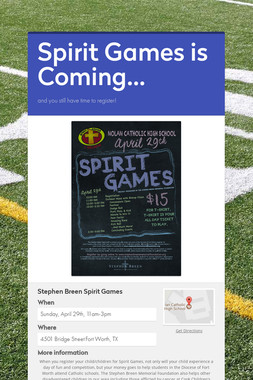 Spirit Games is Coming...