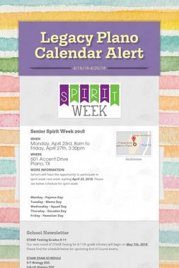 Legacy Plano Calendar Alert