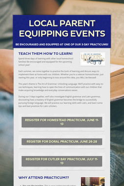 Local Parent Equipping Events
