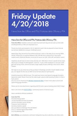 Friday Update 4/20/2018