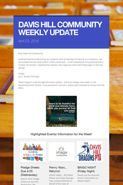 DAVIS HILL COMMUNITY WEEKLY UPDATE