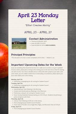 April 23 Monday Letter