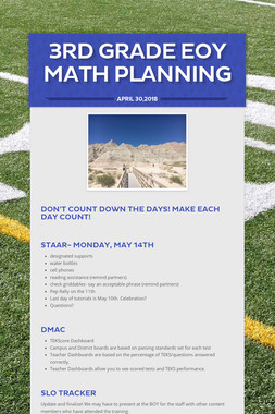 3rd Grade EOY Math Planning