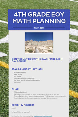 4th Grade EOY Math Planning