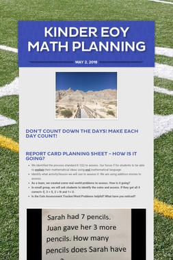 Kinder EOY Math Planning