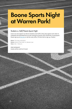 Boone Sports Night at Warren Park!