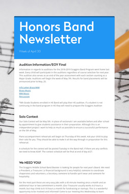 Honors Band Newsletter