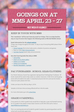Goings On at MMS April  23 - 27